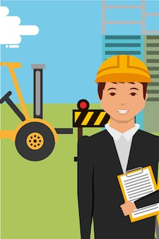 Construction engineer character and equipment forklift