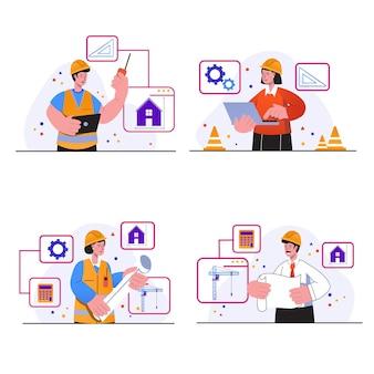 Сцены концепции инженера-строителя устанавливают, что люди в касках разрабатывают план чертежа дома