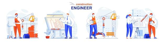 Инженер-строитель набор концепции архитектор с планом подрядчик работает на месте