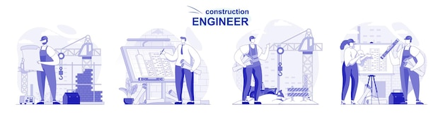 Construction engineer isolated set in flat design people draw blueprint work on construction site