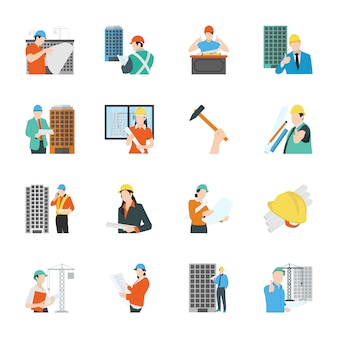 Construction engineering flat icons