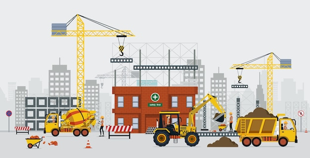 建設エンジニアはクレーンとセメントトラックで建設しています。