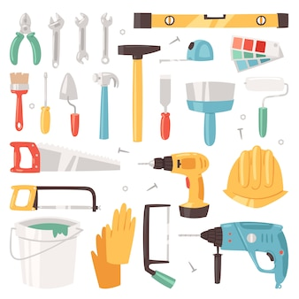 흰색 배경에 고립 된 목수 도구 상자 세트의 망치와 드라이버 그림 빌더 또는 생성자의 건설 장비 건설 도구