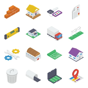 Construction equipment isometric icons pack