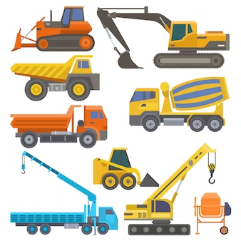 Construction equipment and machinery with trucks crane bulldozer flat yellow transport  illustration
