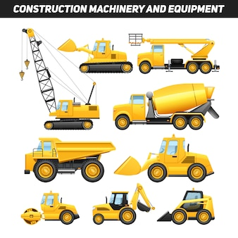 Construction equipment and machinery with trucks crane and bulldozer