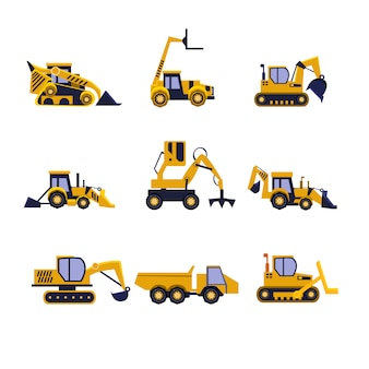 Construction equipment road roller, excavator, bulldozer and tractor set