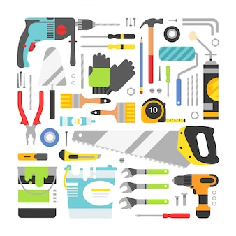 Construction equipment tools flat elements set
