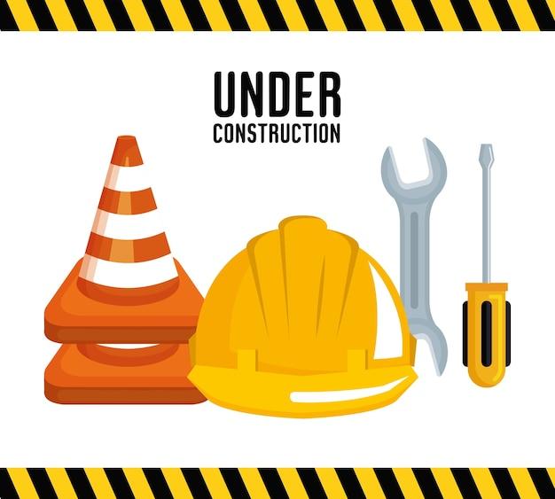 Under construction equipment tools hardwork