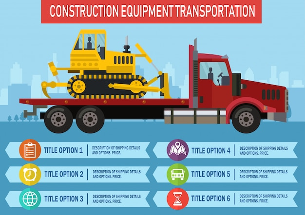 Construction equipment transportation. vector.