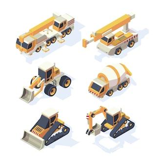 건설 장비. 기계 아이소 메트릭 건물 학술적 자동차 크레인 굴삭기 파는 유압 차량 벡터 집합입니다. 건설 및 굴착 장 비용 굴삭기 그림