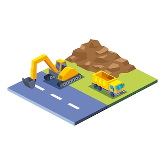 Construction excavator dump truck and earth isometric style icon design of remodeling working and repairing theme
