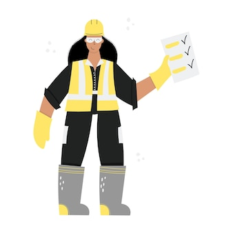 Construction or factory woman worker wearing hard hat