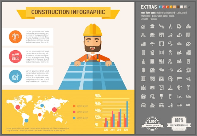 Construction flat design infographic template and icons set