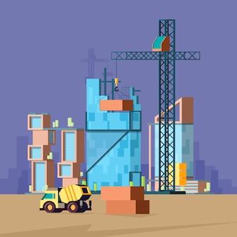 Строительная квартира. низкополигональная здания производство дом строитель пейзаж