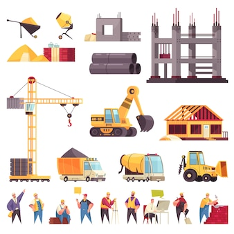 Construction flat set with unfinished building pipes crane bulldozer workers concrete mixer excavator isolated icons  illustration
