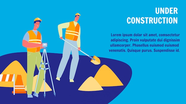 Under construction flat web banner with text space