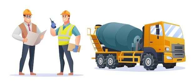 コンクリートミキサー車のイラストと建設現場の監督とエンジニアのキャラクター