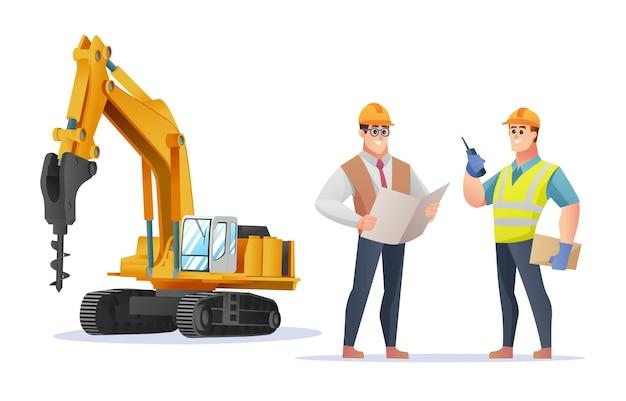 ドリル掘削機のイラストと建設現場の監督とエンジニアのキャラクター