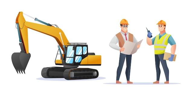 掘削機のイラストと建設現場の監督とエンジニアのキャラクター