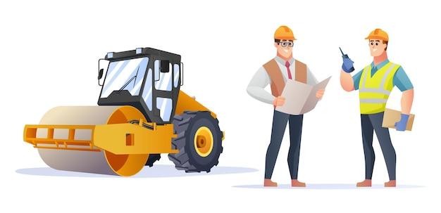 蒸気ローラーコンパクターのイラストと建設現場の監督とエンジニアのキャラクター