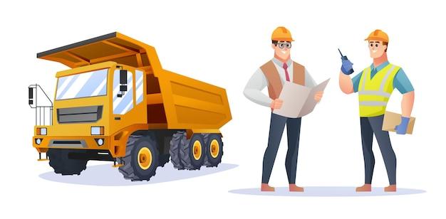 トラックのイラストと建設現場の監督とエンジニアのキャラクター