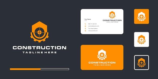 Шаблон дизайна логотипа строительной шестерни