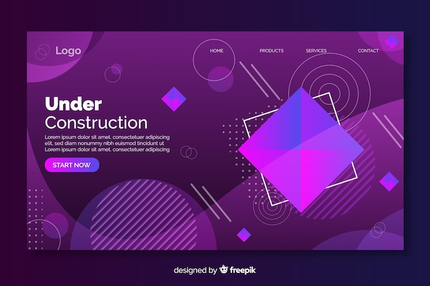 Under construction geometric landing page with gradient