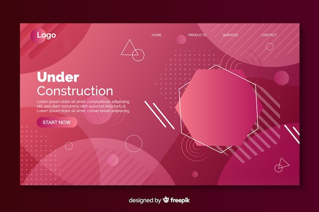 Under construction gradient landing page with geometric shapes