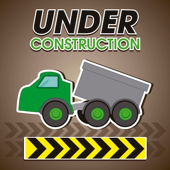 Under construction green truck