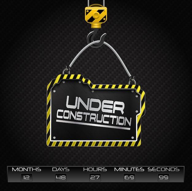 Under construction hanging board Premium Vector