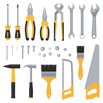 Construction hardware industrial tools vector flat icons