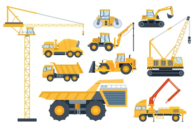 Construction heavy equipment. crane and building machinery, road roller, excavator, tractor, cement mixer truck and drill machine vector set. illustration engineering and hydraulic heavy equipment