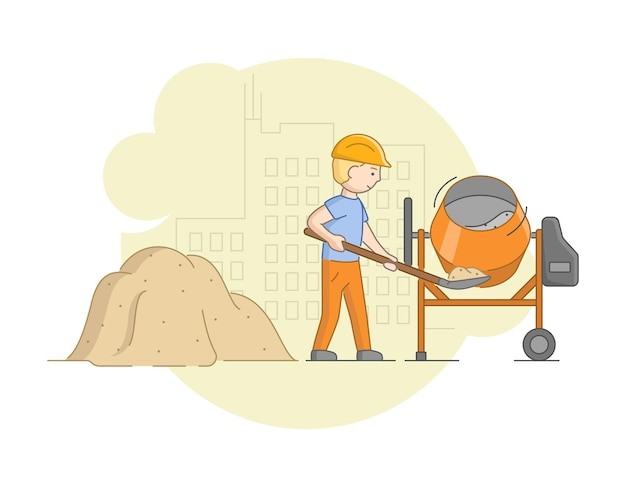 Construction and heavy labor and cement work concept. worker in protective uniform and helmet mixing concrete with mixer. construction worker at work.