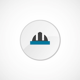 Construction helmet icon 2 colored, gray and blue, circle badge