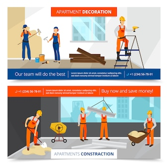 Construction horizontal banners set with decoration symbols flat isolated vector illustration