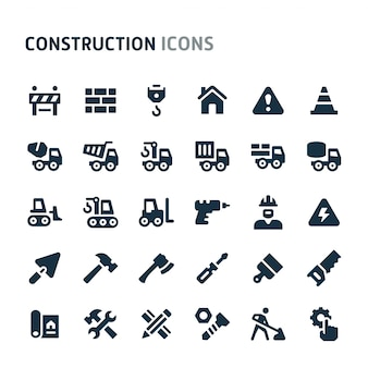 Construction icon set. fillio black icon series.