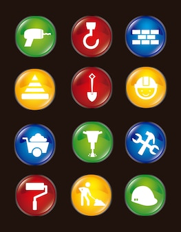 Construction icons over black background vector illustration