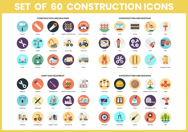 Construction icons set for business