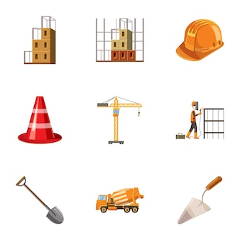 Construction icons set, cartoon style