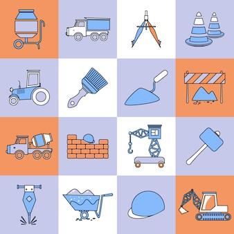 Construction icons set flat line