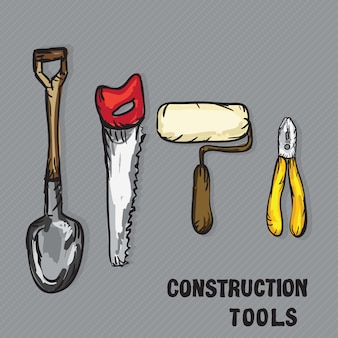 Construction icons ( shovel roller hacksaw pliers)
