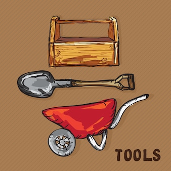 Construction icons (wheelbarrow shovel toolbox )