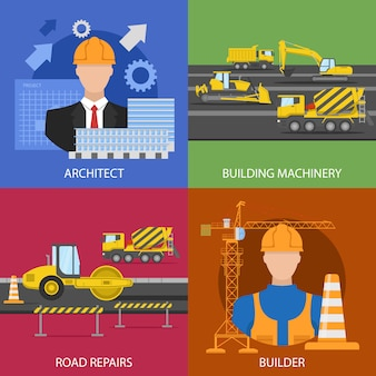 Construction industry compositions with architectural project building machinery road repairs worker isolated