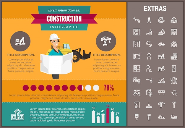 Construction infographic template and elements