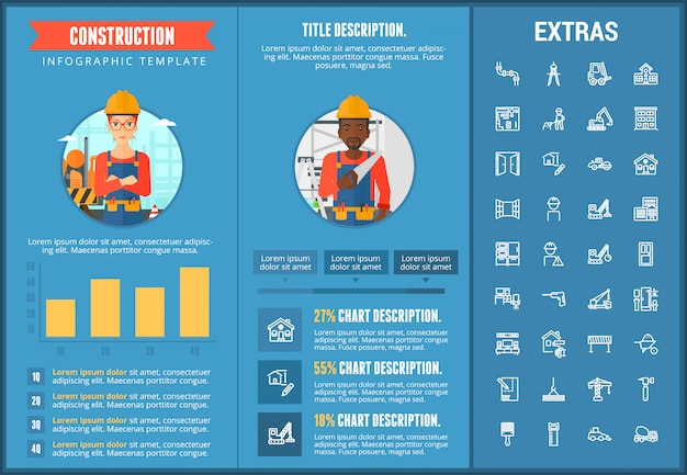 Construction infographic template and elements.