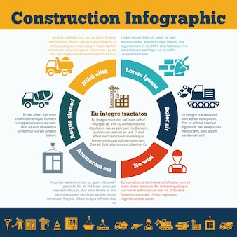 Construction infographic template print