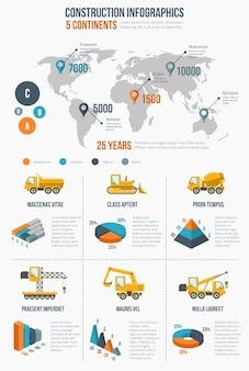 Construction infographics. building element, presentation graphic and chart, globe map