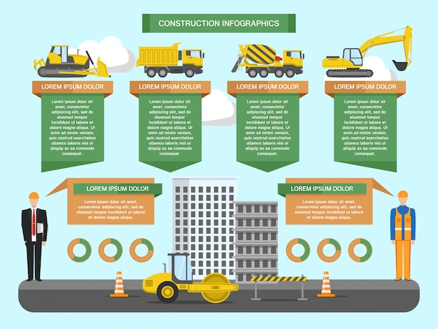 Construction infographics template with staff building machinery road repair diagrams