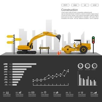 Строительная инфографика со строительными машинами